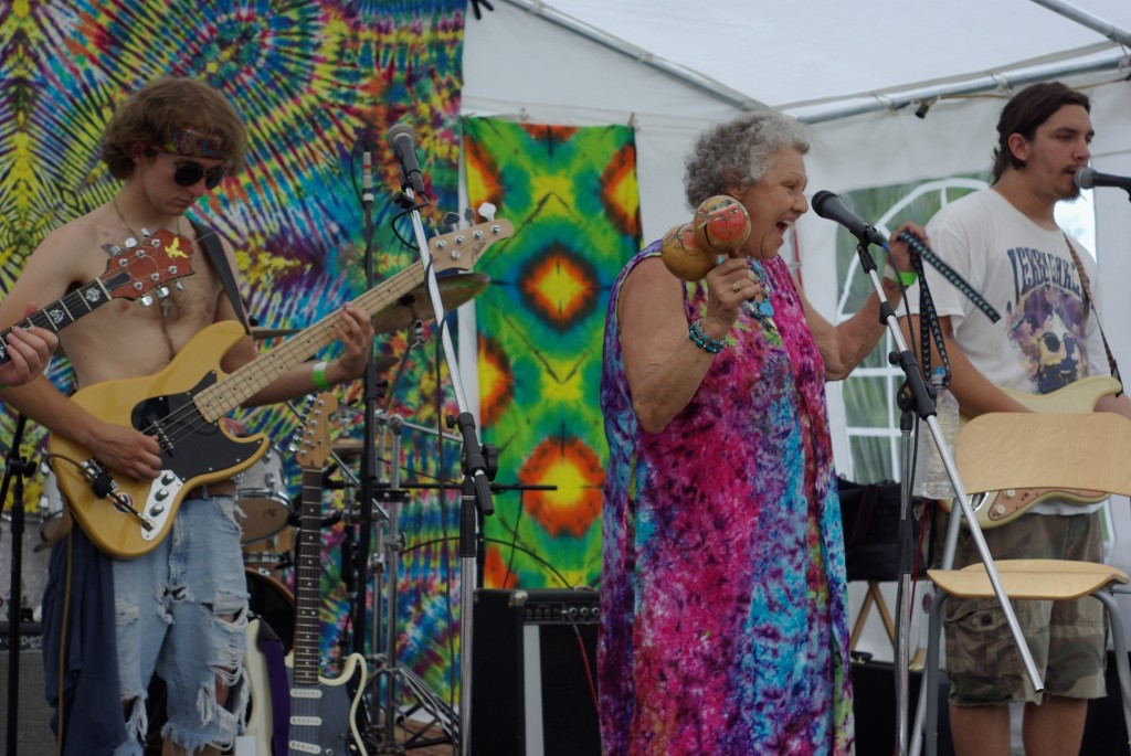 Joan, band grandmother, plays with Duck Duck Goose at Lawnstock II on June 15, 2013. Photo/Josh Brokaw